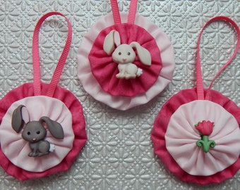 Grey Bunnies and Pink Tulip Easter Ornament Set - 3 pc
