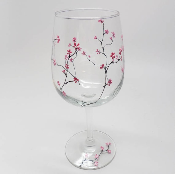 Hand Painted Wine Glass to celebrate the arrival of spring with pink and white flowers