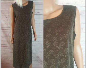 90s Green Sheath Maxi Dress Size Large Fully Lined Maxi Ankle Length Dress Vintage 1990s I Minimilist Dress I Sleeveless Summer Dress