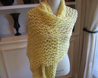 Cotton Shawl, Hand Knit in Yellow Adrienne Vittadinni Ribbon Yarn