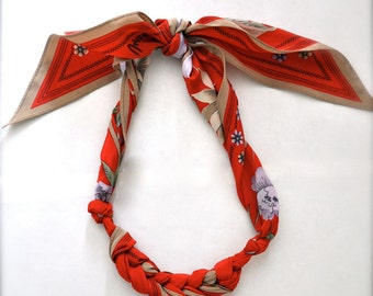 Red Scarf Necklace - Fabric Jewelry - Violet Flower Statement