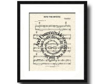 Into The Mystic Song Lyric Art Print, Sheet Music Art Print, Love Song Art, Custom, Wedding, Anniversary, Name and Date