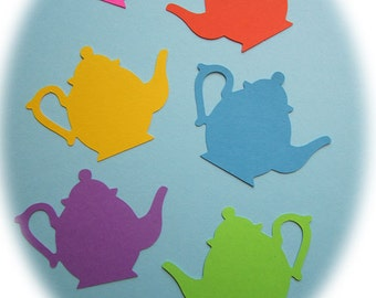 Tea Pot Die Cut, Princess Tea Party Tag, Valentine, Mothers Day, Red Hats Tea, Whimsical Bright Scrapbook Embellishment