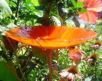 """HOUSEWARMING Gift, Stained Glass, BIRD BATH, 8.5"""" diameter, Red Orange, copper garden art, bird feeder, Garden gift, suncatcher"""