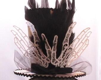 Lace Skeleton Hands Fascinator Headband