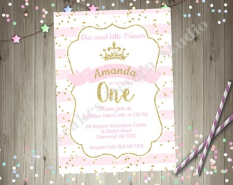 Pink and Gold Princess 1st Birthday Party invitation invite Princess Birthday Party Printable Invitation