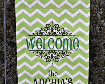 Custom Monogrammed Welcome Burlap Garden Flag Personalized with Name