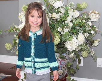 Knitted girl sweater. Knitted girl cardigan. Agua and white  girl sweater. With buttons in the front. Age 3-4