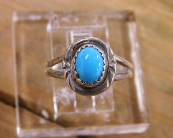 Simple Turquoise Sterling Silver Ring Size 7
