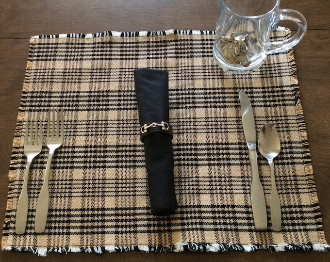 Equestrian Horse Black and Tan Plaid Blanket Placemats Table Linens Set of 4