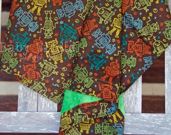 """Personalized Robot Minky Baby Blanket Robots Stroller Size Boy Brown Green Orange - 30""""x42"""" - Name Included - Gear Up"""