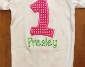 Pink and Green Birthday Baby Bodysuit or Shirt
