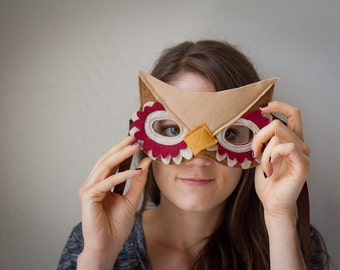 Owl Mask--Red and brown