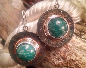 Amazonite Textured Patinaed Silver Earrings with 10k 1mm Wire