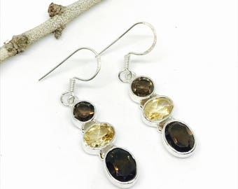 Genuine smokey topaz with citrine  earrings set in sterling silver 92.(. Natural authentic stones. Perfectly matched.