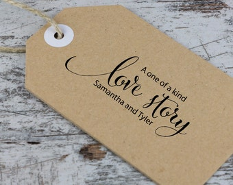 Personalized Wedding Stamp - Wedding Stamp - Calligraphy Style Wedding Stamp - Favor Stamp - Love Story