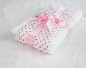 Pink and White Polka Dot Baby Burp Cloths - Set of 2