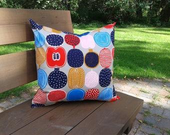 Fruit pillow cover from Marimekko fabric Kompotti, modern Scandinavian designer decor, colorful retro throw pillow or cushion cover