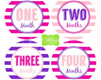 Baby Girl Monthly Stickers - Striped Baby Month Stickers - Baby Girl Growth Stickers - Girl Milestone Stickers - 054