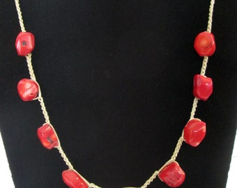 Statement Crocheted necklace with red coral stones, Christmas gift, holiday sale