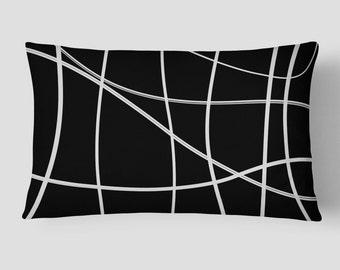 Black White Cushion, 14x20 Cushion Cover, Scribble Lumbar Pillow, Lines Long Cushion, Modern Lumbar Cushion, Cushion and Insert