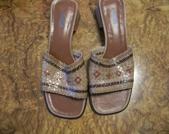Tan Leather Woven Sandal, Womens, Nicole Brand,  by Nanas Vintage Shop on Etsy