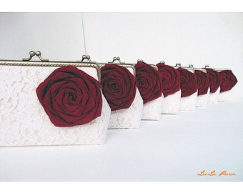 Red Bridesmaid/  8* Wedding Clutches with Silk Roses and Custom personalized Label Tag /Rustic Fall