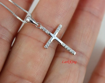 Cross necklace, sterling silver cross pendant, sterling cross necklace, tiny cross necklace, religious necklace, catholic necklace, NE8205