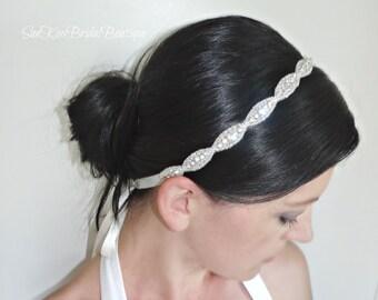Bridal Crystal Headband, Beaded Wedding Headpiece, Rhinestone Headband for Brides or Bridesmaids, JULIE