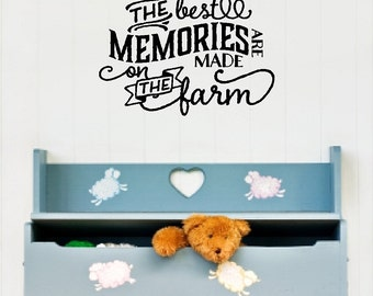 The best memories are made on the farm Wall Quotes Words Removable Farm Wall Decal Lettering 3 Sizes! DA018_G