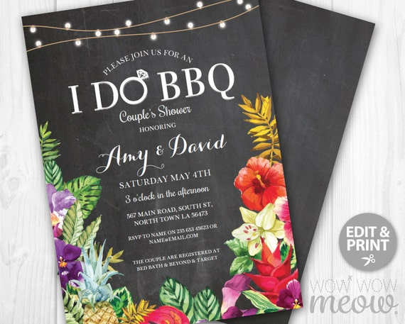 I Do BBQ Aloha Invitation