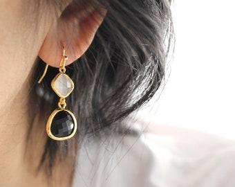 Crystal drop Earrings, black and white crystal earrings, wedding jewelry