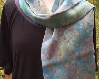 Eco printed scarf, hand dyed scarf, pure wool, long scarf, Eco scarf, turquoise scarf