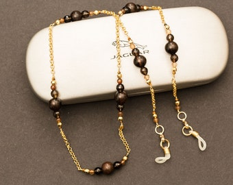 Brown Beaded Glasses Chain. Spectacle Holder Chain. Eyeglass Chain. Sunglasses Holder Chain. Gemstone & Gold Neckchain. Eyeglass Lanyard.