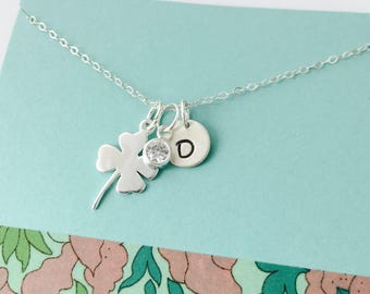 Shamrock Necklace, Sterling Silver Shamrock Necklace, March Wedding, Graduation Necklace, Good Luck Necklace