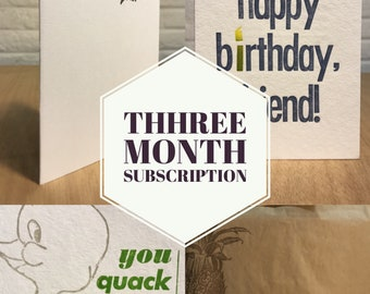 Three Month Subscription of Letterpress Cards