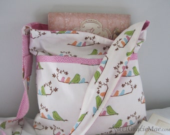 THE LIBRARY BAG - Children's Book Tote Bag with Library Card Pocket, Mama Birds in Pink - Ready to Ship