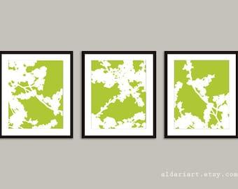 Cherry Blossoms Art Prints - Set of 3 - Green and White Flower Art - Nature Home Decor - Modern Spring Tree Wall Art