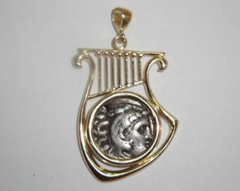 14K Yellow Gold Pendant, Antique Silver Drachma Coin, Harp Pendant, Ancient Coin Pendant, Authentic Ancient Coin Jewelry