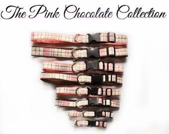 Dog Collar- Pink and Brown Dog Collar, X Small Dog Collar to X Large Dog Collar, Girl Dog Collar, Pretty Dog Collar, Female Dog Collar