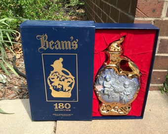 Vintage Rare James A Beam Ornate Collector's Kentucky Straight Bourbon Whiskey Decanter With Ornate Gold Features and Blue Cherubs in Box