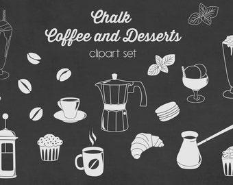 Chalkboard coffee and desserts clipart, chalkboard tea clip art with chalkboard background