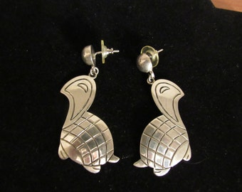 VINTAGE TURTLE EARRINGS, Sterling Silver, Hand Made , Unique, Mexico, Artist Signed,.925