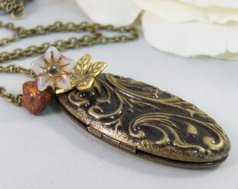 Autumn Currents,Locket,Brass Locket,Flower,Fall,Antique Locket,Red,Woodland,Jewelry. Handmade jewelry by valleygirldesigns.