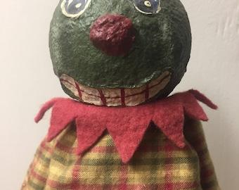Handmade ooak Halloween watermelon art doll artist jack o lantern anthropomorphic vegetable fruit paper mache artisan