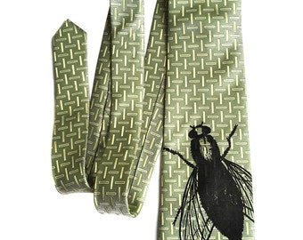 Fly Necktie. Limited edition sample sale. 40% off! House Fly Tie. Entomologist gift. Black silkscreen print on light green woven luxe silk.