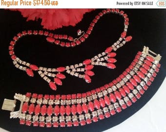 ON SALE Signed Gale Red Rhinestone Demi Parure, Designer Signed Necklace Bracelet Set, 1950's 1960's Old Hollywood Glamour Jewelry