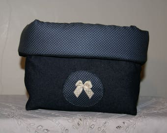 Fabric basket Organizer quilted Denim Blue and beige bow