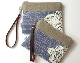 Women's Wallet - Chambray Wristlet - Vintage Lace Purse