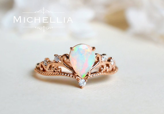 Vintage Pear Crown Ring In Opal, Ethiopian Fire Opal Pear Engagement Ring  Or Ring Set, Available In 14K Gold, 18K Gold, Or Platinum, R1004